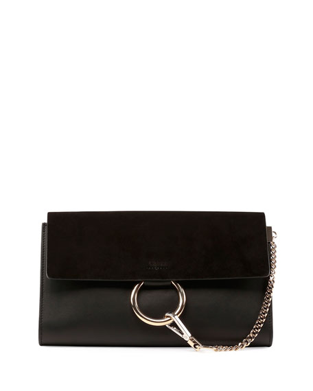 Faye Leather & Suede Clutch Bag, Black