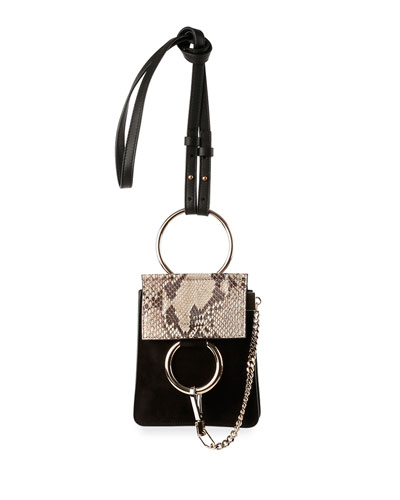 Faye Python & Suede Mini Crossbody Bag, Black