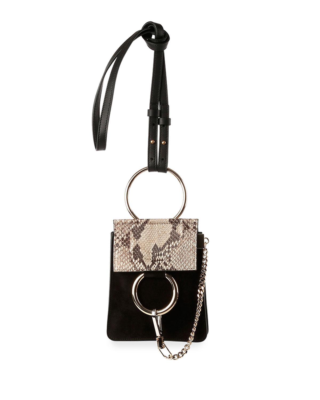 Faye Python Suede Mini Crossbody Bag Black