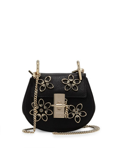 Drew Nano Floral Leather Saddle Bag, Black
