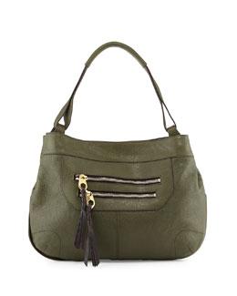 Sandy Leather Hobo Bag, Forest