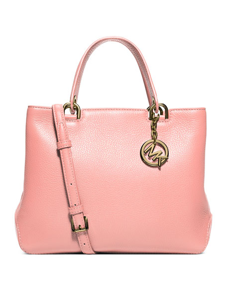 Anabelle Medium Top-Zip Leather Tote Bag, Pale Pink