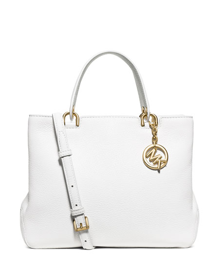 Anabelle Medium Top Zip Tote Bag Optic White