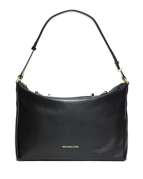 Chelsey Convertible Leather Shoulder Bag, Black/White