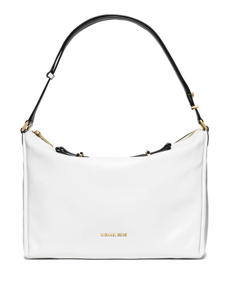 Chelsey Convertible Leather Shoulder Bag, White/Black