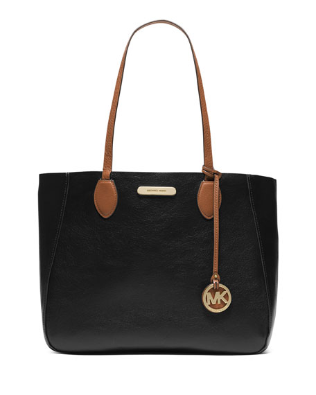 MICHAEL Michael Kors Mae Large Bicolor Tote Bag, Black/Luggage
