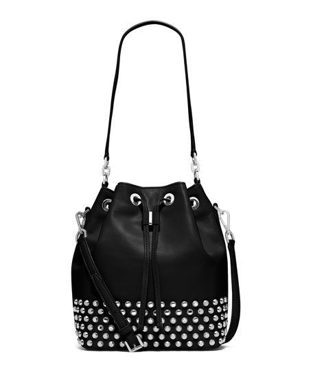 MICHAEL Michael Kors Dottie Large Studded Bucket Bag, Black