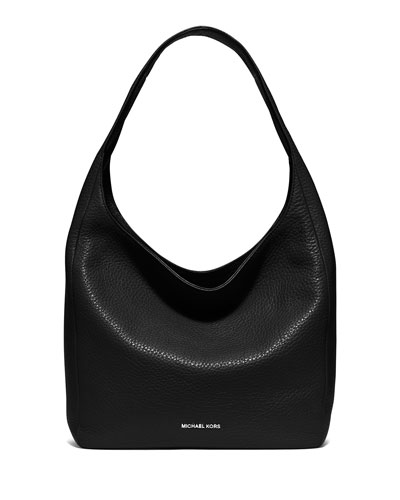 Lena Large Leather Shoulder Bag, Black