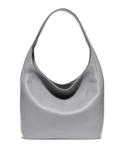Lena Large Leather Shoulder Bag, Dove