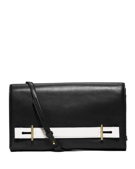 Chelsey Two-Tone Large Evening Clutch Bag, Black/White