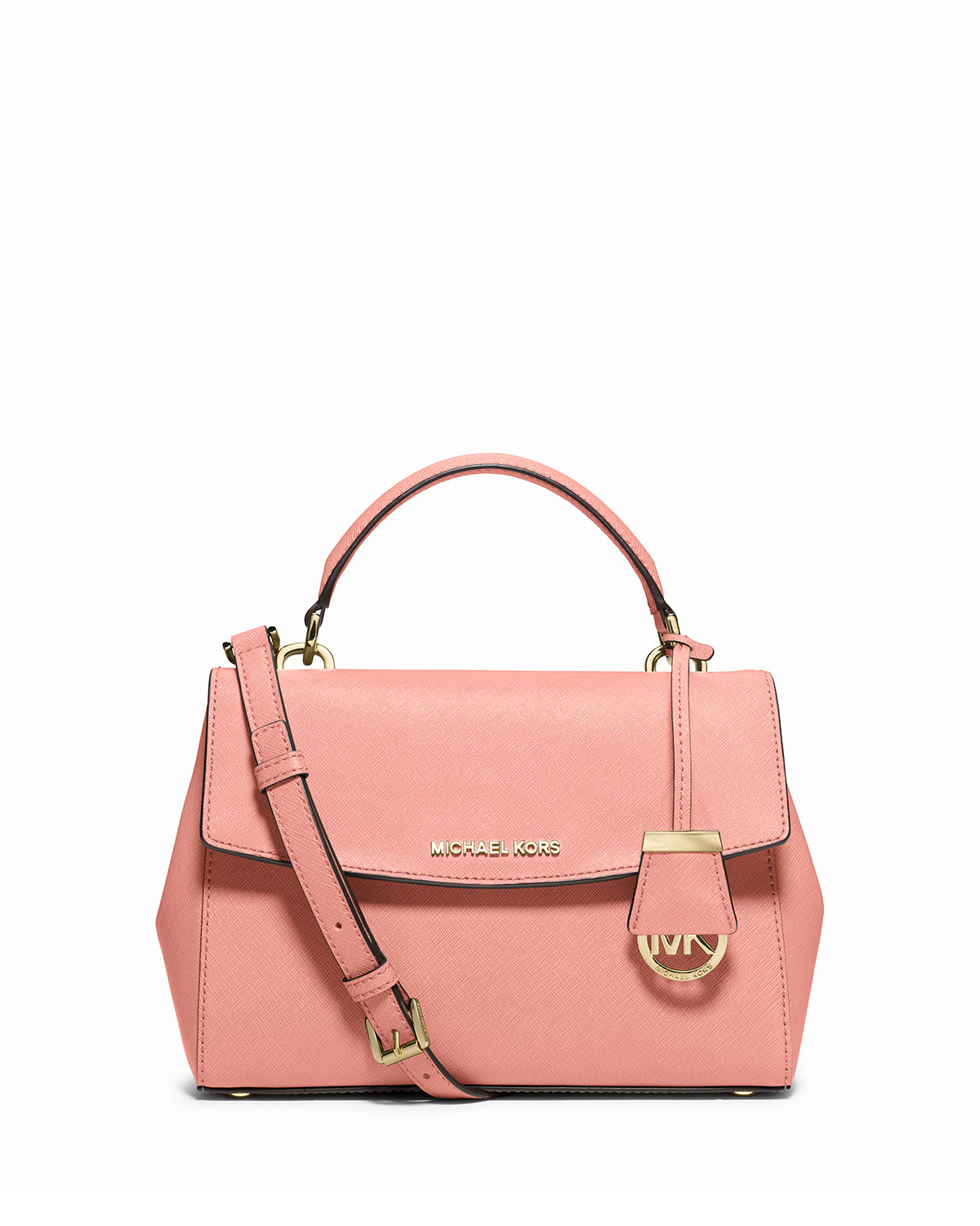 Ava Small Saffiano Leather Satchel Bag, Pale Pink