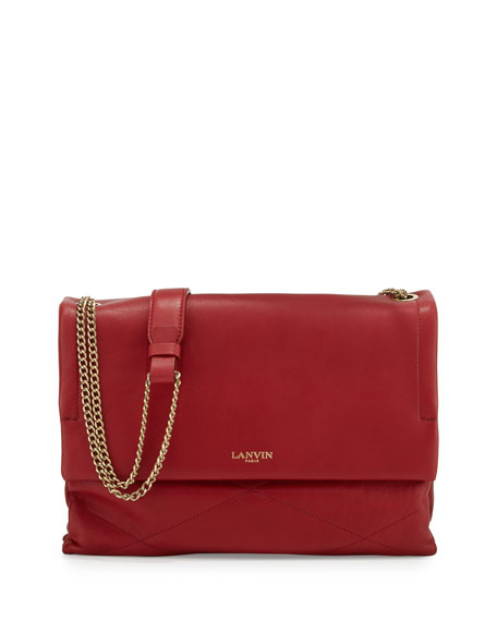 LanvinSugar Medium Chain Shoulder Bag, Red