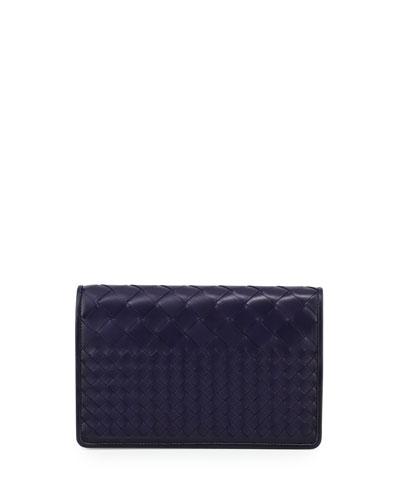 Intrecciato Medium Woven Clutch Bag, Atlantic Blue