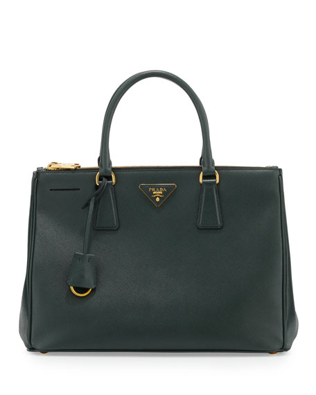 PradaSaffiano Lux Double-Zip Tote Bag, Emerald (Emerald)