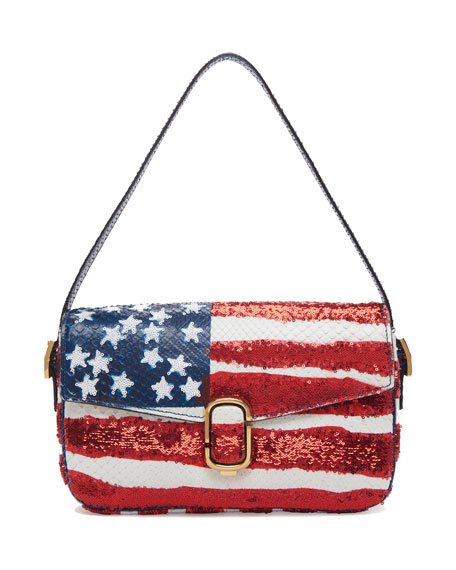 Marc Jacobs American Flag Sequin Python Shoulder Bag,