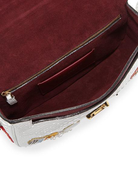 Marc Jacobs J Marc Embroidered Python Shoulder Bag, White