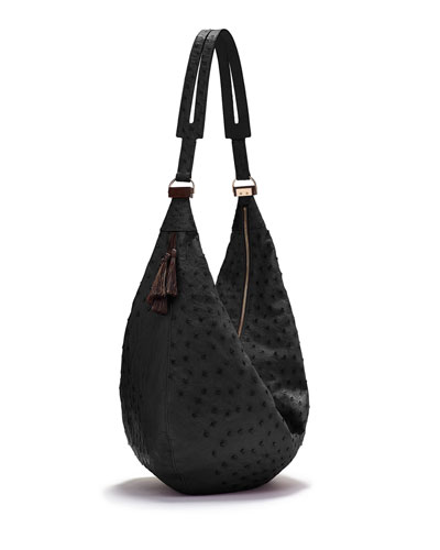 Sling 15 Ostrich Leather Hobo Bag, Black