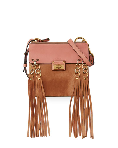 Jane Tassel-Trim Leather Crossbody Bag, Rose