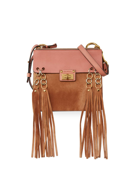 Chloe Jane Tassel-Trim Leather Crossbody Bag, Rose