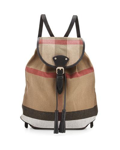 Chiltern Brit Check Medium Canvas Backpack, Black