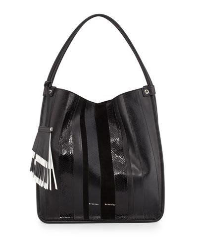 Striped Snakeskin Medium Tote Bag, Black