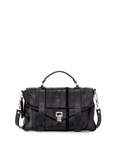 PS1 Exotic-Striped Medium Shoulder Bag, Black