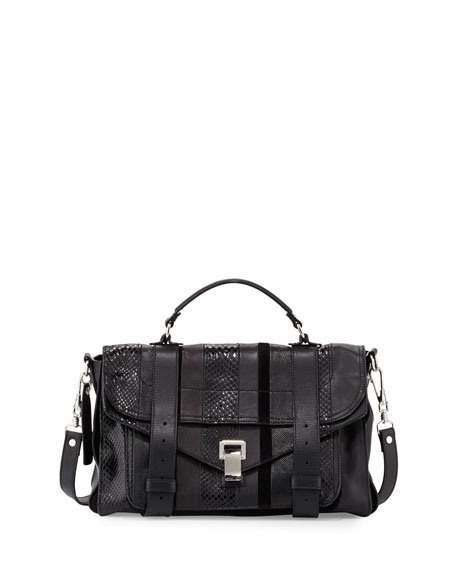 Proenza Schouler PS1 Exotic-Striped Medium Shoulder Bag, Black
