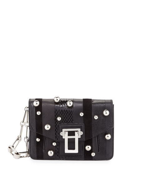 Proenza Schouler Hava Exotic-Striped Clutch Bag, Black