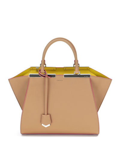 Fendi 3Jours Leather Satchel Bag, Camel/Multi
