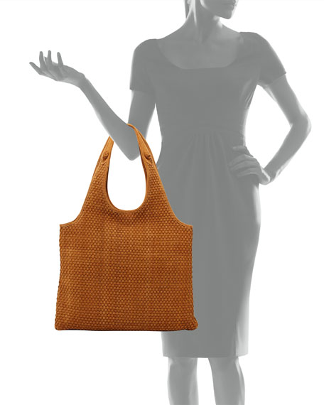 Zoe Woven-Suede Carryall Bag, Dune