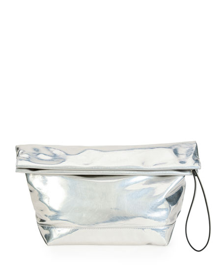 Marni Large Wristlet Lunch Bag Clutch, Silver