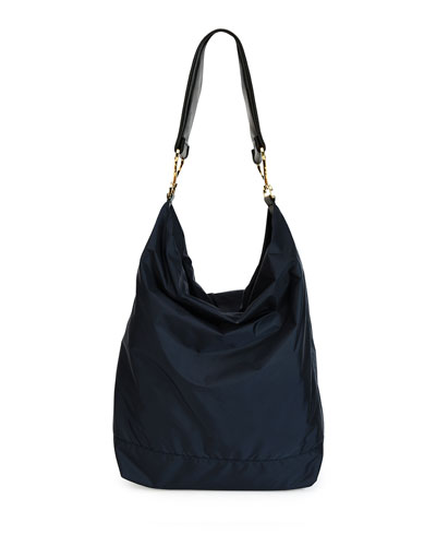 Twist Large Nylon Hobo Bag, Navy/Black