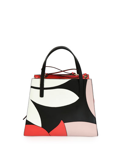 Small Top-Handle Floral Tote Bag, White/Quartz