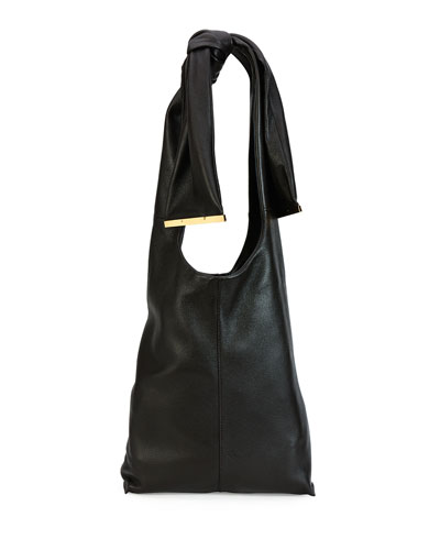 Runway Tie Deerskin Hobo Bag, Chocolate