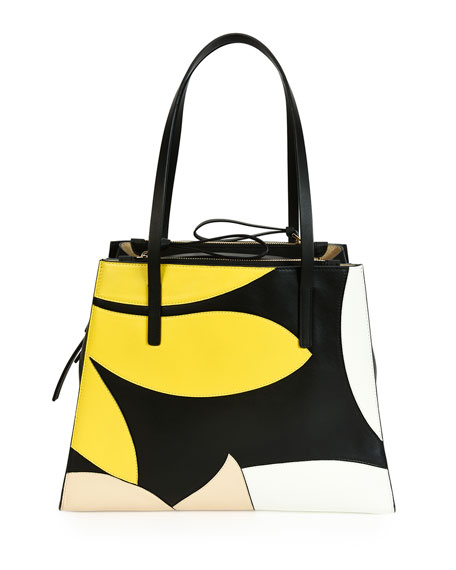 Marni Floral Medium Calfskin Tote Bag, Lemon/White