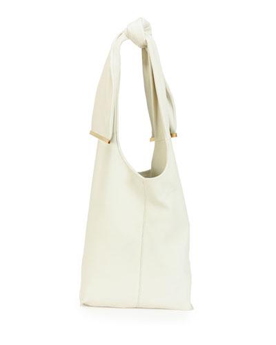 Runway Tie Deerskin Hobo Bag, White