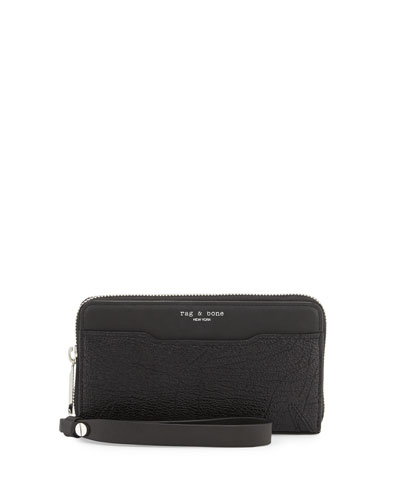 Devon Mobile Zip Wallet, Black Crackle