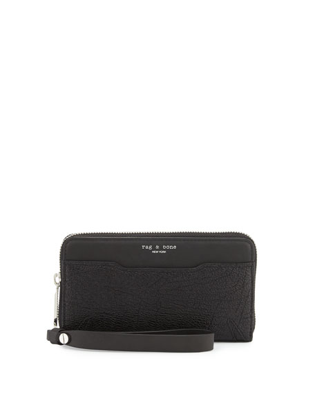Rag & BoneDevon Mobile Zip Wallet, Black Crackle