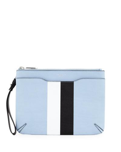 Striped Leather Zip Clutch Bag, Light Blue