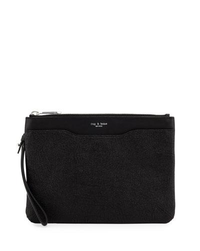 Crackled Leather Zip Clutch Bag, Black Crackle