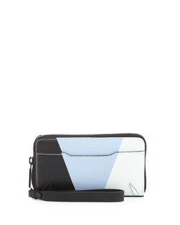Devon Mobile Zip Wallet, Light Blue/Multi