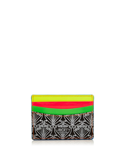 Iphis Printed Canvas Credit Card Holder, Neon
