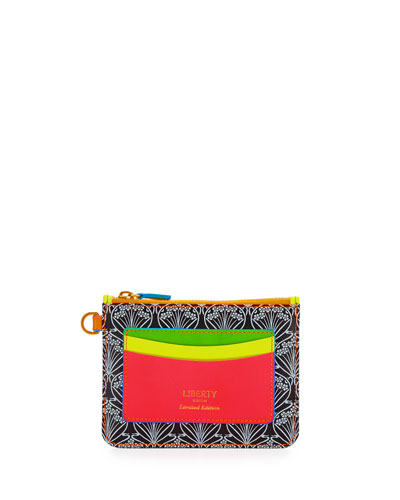 Neon Iphis Printed Outside-Pocket Wallet w/Necklace Strap