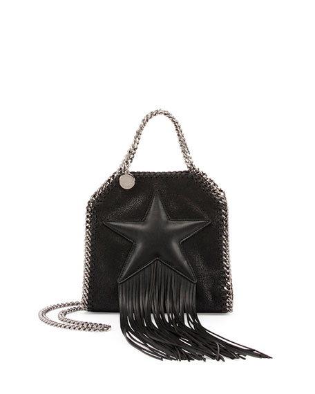 Stella McCartney Falabella Fringed Star Tiny Tote, Black