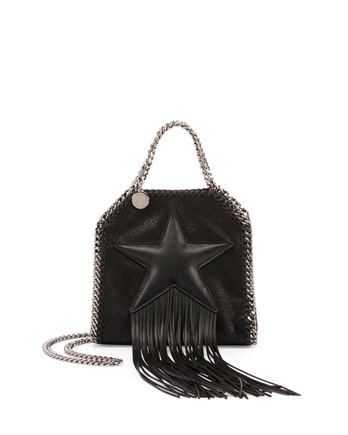 c96a9550c6 Stella McCartney Falabella Fringed Star Tiny Tote