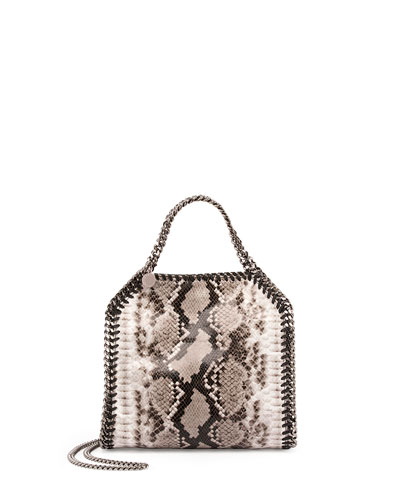 Snake-Print Mini Bella Shoulder Bag, Gray