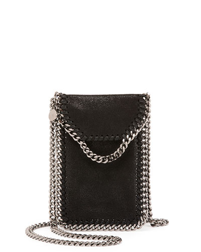 Crossbody Bag Phone Holder w/Chain Trim, Black