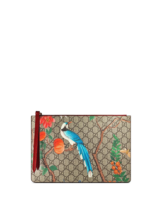 a2c3e74faf4 Gucci GG Supreme Tian Canvas Zip Pouch