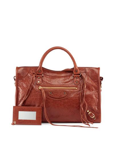Classic Gold City Lambskin Tote Bag, Cognac