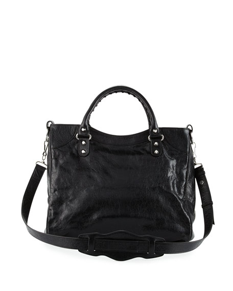 Classic Nickel Velo AJ Leather Bag, Black